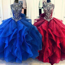 High Neck Dress Sale Australia - 2019 Elegant Crystal Beads Quinceanera Dresses High Neck Ruffles Tiered Skirst Organze Swwet 16 18 Party Prom Dresses Hot Sale