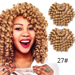 $enCountryForm.capitalKeyWord Australia - Hot! 8inch Ombre Jumpy Wand Curl Crochet Braids 20 Roots Jamaican Bounce Synthetic Crochet Hair Extension for Fashion Women