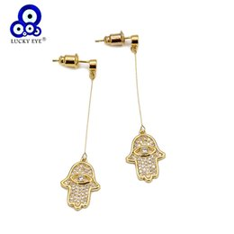 wholesale hamsa earrings Canada - Lucky Eye Hamsa Hand Evil Eye Drop Earrings Gold Silver Color Copper Charm Earrings Fashion Jewelry Gifts for Women Girls EY6679