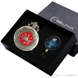 Women Fashion Jewelry Watch Set NZ - Vintage Bronze Fashion Red Fire Fighter Quartz Pendant Pocket Watch Chain Necklace Jewelry Firefighter Gifts Box Sets for Men Women Ulzzang