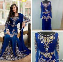 Discount arabic designers evening gowns - moroccan kaftan Royal Blue Prom Dresses Abaya Muslim Arabic Long Sleeve Evening Gowns With Beaded Crystal Floor Length C