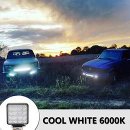 Wholesale free shipping 16LEDs 48W SUV Headlights 6000K White Color Light Bar Vehicle Work Light
