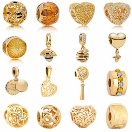 Envío gratis nuevo Golden Heartbee Honey Comb Family Tree Infinity Flower Love Clipbead se adapta a Pandora Charm Bracelet Mix051 en venta