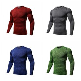 Wholesale Round Collar Running Motion Clothes Soft Long Sleeves Fashion Tight Fitting T Shirts Run Training T Shirt For Man Spring atH1