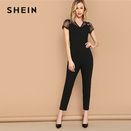 Elegant Jumpsuits Sleeves Australia - Elegant Black Mesh Yoke V Neck Solid Unitard Skinny Jumpsuit Women Summer Cap Sleeve 2019 Highstreet Office Lady Jumpsuits C19041001
