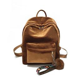 5e6cbe147026 Simple Fashion Pleuche Casual Zipper Traveling Shopping Bag Women Female  Velvet Backpack For Teenager School Girls Popular Fa1