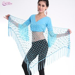 Waist Piercing Australia - Belly Dance Waist Chain Stage Wear Indian Dance Hip Skirt Pierced Towel Scarf Wrap Belly Dance Hip Triangle Bandage 7 Colors A0337
