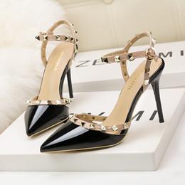 $enCountryForm.capitalKeyWord NZ - Dress Shoes 6289-5 European style simple sexy club thin heel high heel shallow mouth head rivet hollows a word to take a woman's single shoe
