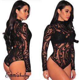 Women Long Sleeve Stretch Bodysuit Lace Sheer Leotard Body Turtleneck Party Lace V-Neck Top Nightwear Skinny Bodysuit on Sale