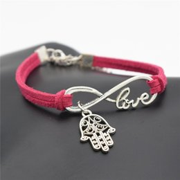 $enCountryForm.capitalKeyWord NZ - New Arrival Fashion Red Leather Suede Rope Wrap Cuff Charm Infinity Love Hand Palm Pendant Bracelets Bangles For Women Men Jewelry Wholesale