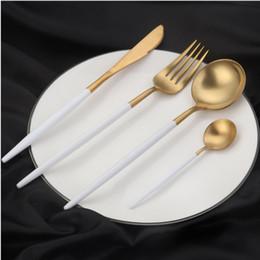 white kitchen sets 2019 - 304 Stainless Steel Western Cutlery Set 4 Pcs Set Colorful Dinnerware Set Kitchen Food Tableware Dinner Set WWA112 disco