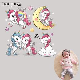 $enCountryForm.capitalKeyWord Australia - Cartoon Unicorn Heat Transfer Vinyl Heat Transfer Ironing New Exclusive Sticker for Kids Shirt 10 Pieces