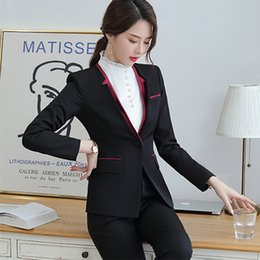 women business trouser suits NZ - IZICFLY Spring Autumn Slim Ladies Suit with Pant Uniform Designs Two Piece Set Women Elegant Business Blazer and Trouser Suits