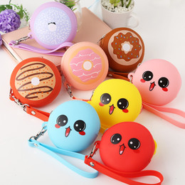 Silicone Waterproof Wallet Australia - Waterproof Round Shape Silicone Jelly Coin Purse Mini Wallet Zipper Closure Headphones Case Keychain Charms Adult Kids Birthday Novelty Gift