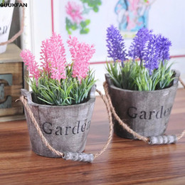Artificial Potted Plants Australia - NEW Artificial Plants Small lavender Pot Plants Fake Flowers Potted Ornaments For Home Decoration Hotel Garden Decor