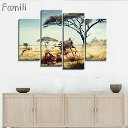 Zebra Print Art Australia - Frameless Oil Painting Zebra Canvas Print Animal Wall Painting Home Decor Canvas Painting for Living Room Wall Art Gift 4 Pieces