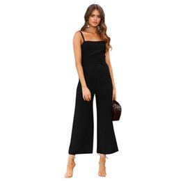 bodycon jumpsuits for women UK - Tracksuit For Women Jumpsuit Female Rompers Spaghetti Strap Casual Playsuit Solid Overalls Wide Leg Loose Pants Ladies Dungarees Y19060501