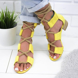 $enCountryForm.capitalKeyWord Australia - Fashion summer bohemia large size 40-43 thick heel sandals patchwork lace-up casual women sandal shoes 4 colors