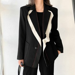 ladies office jackets Australia - [EWQ] 2020 Spring Women Spliced Hit Color Temperament Blazer New Lapel Long Sleeve Loose Fit Jacket Fashion Ladies Office Coat