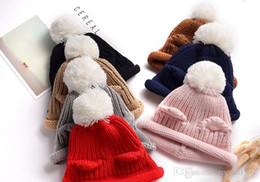 Cotton Knit Baby Bonnets Australia - New soft baby Knitted Cotton Bonnet Hat Infant Winter Warm Cap Rabbit Ear hat Toddler cotton beanies