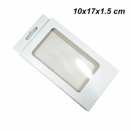 pc protectors NZ - 20 Pcs Lot White 10x17x1.5 cm Kraft Paper Cell Phone Case Protector Packing Box Window Plain Cardboard Hanging Packaging Box for Accessories