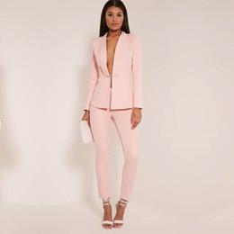 d7796815544e Nueva luz rosa 2019 moda para mujer trajes de negocios damas elegantes  trajes formales para bodas trajes de pantalón femenino