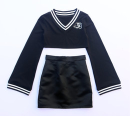 Discount korean two piece dresses woman - kpop blackpink Black tracksuit women skirt set Women's Dance Long Sleeve Tops korean Cute New two piece dress festi