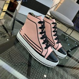 design genuine leather NZ - France famous design High top Trend Luxury Platforms Denim Breathable women shoes womens Flats Genuine Leather Lace-Up Casual Shoes-18