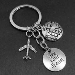 airplane bags NZ - Live your dream Pilot Dream Keychain Airplane Passport Travel Keychain charm pendant key chain ring Car Bag Decorations Keychain A274