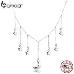 silver star pendant necklace NZ - BAMOER Real 925 Sterling Silver Star Chain Sparkling Moon Starry Pendant Necklaces for Women Sterling Silver Jewelry SCN301 CX200609