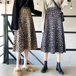 Wholesale swing sizes online – design 2019 autumn and winter new Korean leopard skirt High waist retro swing skirt Wild is thin long Plus Size skirts womens