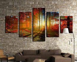 Solar Panels 12 Australia - Luz Solar Bosque Bosque Rojo Otoño,5 Pieces Home Decor HD Printed Modern Art Painting on Canvas (Unframed Framed)