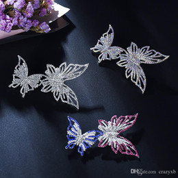 Lock Enamel Charms NZ - Elegant charm female Multilayer Enamel rhinestone Double butterfly dancing brooches Pin for women Party prom Jewelry