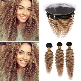 Human Hair 27 Australia - Light Brown Ombre Deep Wave Hair Bundles with Frontal Lace Closure Deep Curly 1B 27 Honey Blonde Ombre Human Hair and Frontals