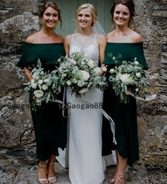 green fall dresses NZ - country boho Grecian Long ruched hunter green Chiffon Charming off Shoulder Jersey Pleated Bridesmaid Dres Simple boho Maid Of Honor Dress