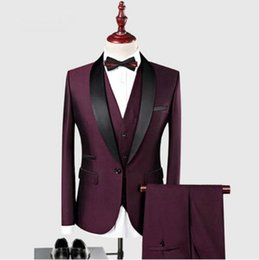 2019 Business Men Suit 2019 Wedding Suits for Men Shawl Collar 3 Pieces Slim Fit Burgundy Suit Mens Tuxedo Jacket Bridegroom