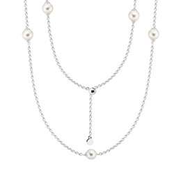 gold choker droplets NZ - Luminous Dainty Droplets Chain Necklaces for Women Fashion Sterling Silver Jewelry White Pearl Choker Necklaces Girls Jewelry