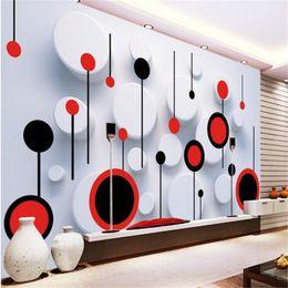 Circle Sticker Paper Australia - 3d wallpaper custom mural non-woven wall sticker 3 d TV setting wall fashion circle photo 3d murals wallpaper