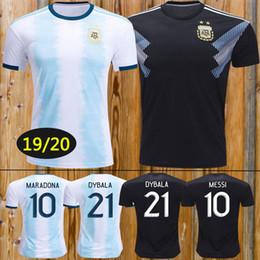 ArgentinA AwAy soccer online shopping - 2019 Argentina Soccer Jerseys Argentina Home soccer Shirt MESSI AGUERO DYBALA DI MARIA away football uniform size S XL