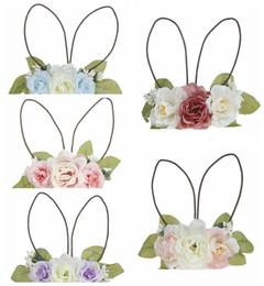 $enCountryForm.capitalKeyWord UK - Rattan rabbit ear flower hairband baby flower wreath hair ornaments Easter dress up lovely baby lady hairband small fresh LJJT15