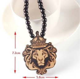 $enCountryForm.capitalKeyWord Australia - Maxi Laser engraved wooden bead necklace lion king pendant hip hop clothing accessories wood necklace can be customized