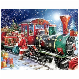 Oil paint numbers kits online shopping - Anti Stress Diy Easy Paint by Numbers Kit for Adults Beginner Santa Claus Train Framed Unframed Digital Canvas Painting Christmas Decoration