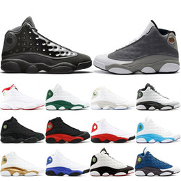 Table Cat Box Australia - Top Fashion 13 13s Cap And Gown Atmosphere Grey For Men Phantom Basketball Shoes Flint DMP Chicago Black Cat Mens Trainers Sneakers 41-47