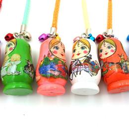 Matryoshka Toys Australia - Cartoon Wooden Matryoshka Doll Russian Doll Phone Chain Key Pendant Accessories Toys K0206