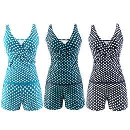 Swimsuit Strap Australia - Women Plus Size Two Piece Tankini Set Deep V-Neck Vintage Polka Dot Cross Wrap Front Tank Top Mid Waist Bottoms With Swimsuit