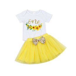 $enCountryForm.capitalKeyWord Australia - Summer Baby Girls Pricness Outfits Sweet One Letter Printed Romper + Tulle Sequin Bow Tutu Skirt 2pcs Suits Children Clothing Sets Y2499