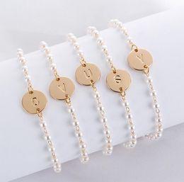 $enCountryForm.capitalKeyWord Australia - A to T 26 Letters Fashion Rose Gold Silver Alloy Letter Bracelet Snake Chain Charm Bracelet homme femme Personality jewellery