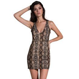 Short Snake Chain NZ - Sexy Women Mini Dress Snake Skin Deep V Neck Backless Chain Sleeveless Bodycon Party Dress Khaki Package Hip Short Summer Dress