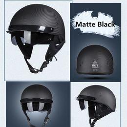 $enCountryForm.capitalKeyWord Australia - Carbon Fiber Skull Cap Motorcycle Helmet Vintage Half Face Helmet Retro German Style chopper Cruiser DOT certificate M L XL