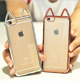 $enCountryForm.capitalKeyWord Australia - For apple iphone X cases Cute Cat Ears Electroplating Chrome phone cases For iphone 6S 7 8 Plus Clear soft TPU back silicone cover shell